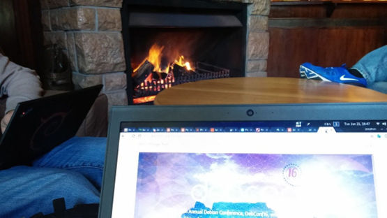 Hacking by the fire at the sports club