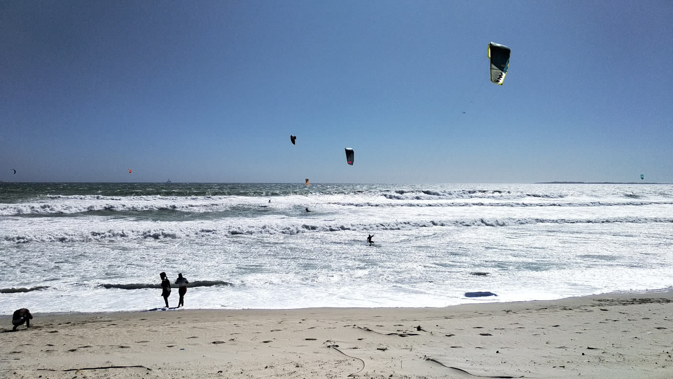 Watching people windsurf at Blouberg beach